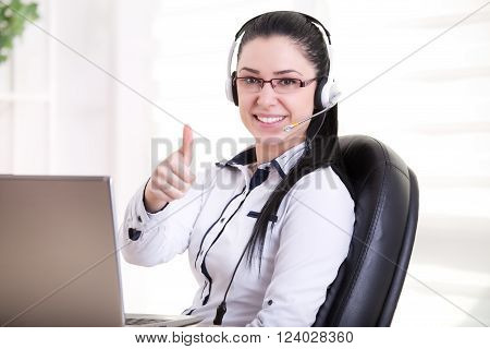 Operator With Headset Showing Ok Sign