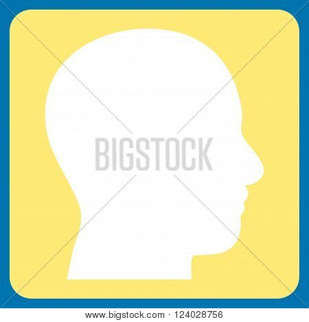 Head Profile vector icon. Image style is bicolor flat head profile icon symbol drawn on a rounded square with yellow and white colors.