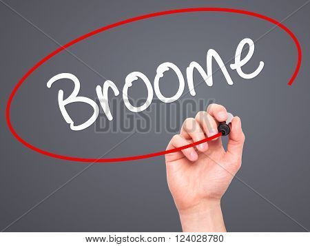 Man Hand Writing Broome With Black Marker On Visual Screen.