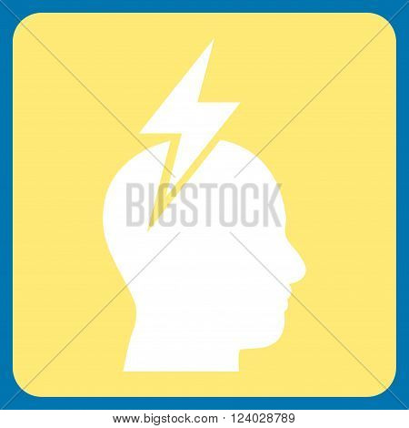 Headache vector icon. Image style is bicolor flat headache pictogram symbol drawn on a rounded square with yellow and white colors.