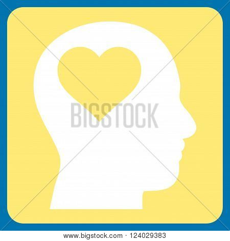 Lover Head vector icon symbol. Image style is bicolor flat lover head iconic symbol drawn on a rounded square with yellow and white colors.