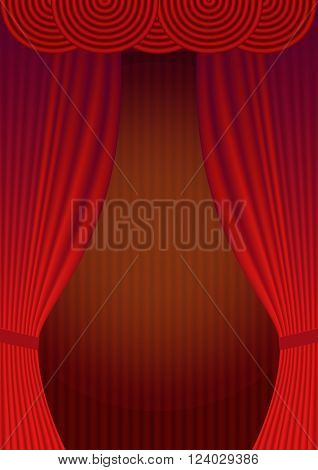 Curtain Theatre reopening. Vector background for invitations, announcements of events and exhibitions in album letter format