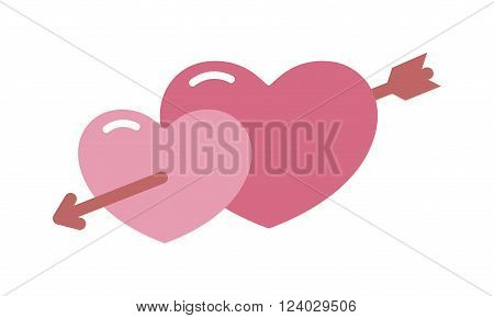 Vector sign two hearts pierced  arrow cartoon illustration. Two hearts vector. Two hearts valentine symbol. Two hearts romance vector. Two hearts couple decoration. Two hearts flat style