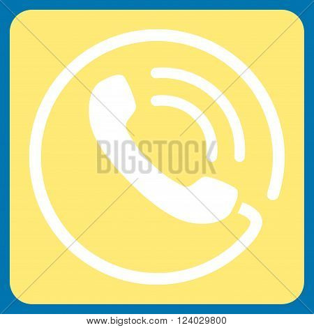 Phone Call vector pictogram. Image style is bicolor flat phone call pictogram symbol drawn on a rounded square with yellow and white colors.
