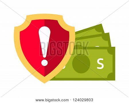 Money safety vector. Internet safety illustration. Bank safety isolated on white. Money safety icon flat style silhouette. Bank or money safety concept. Business money safety, banking concept