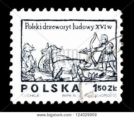 POLAND - CIRCA 1974 : Cancelled postage stamp printed by Poland, that shows Hunter with bow and arrow.
