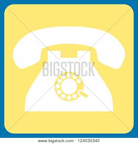 Pulse Phone vector symbol. Image style is bicolor flat pulse phone pictogram symbol drawn on a rounded square with yellow and white colors.