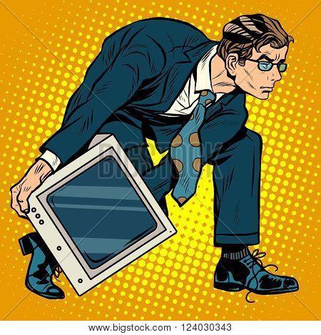 Computer tech weapon men pop art retro style. A man picks up a computer to throw it. Programmer and technology