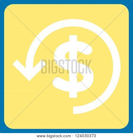 Refund vector icon. Image style is bicolor flat refund pictogram symbol drawn on a rounded square with yellow and white colors.