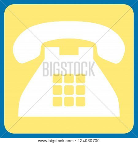 Tone Phone vector icon symbol. Image style is bicolor flat tone phone iconic symbol drawn on a rounded square with yellow and white colors.