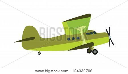 Light aircraft single propeller green plane. Isolated white background light aircraft. Green plan. Light green plan. Light aircraft green plan. Green plan vector