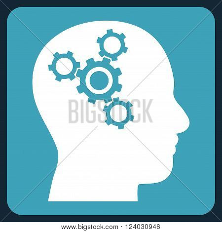 Brain Mechanics vector pictogram. Image style is bicolor flat brain mechanics pictogram symbol drawn on a rounded square with blue and white colors.