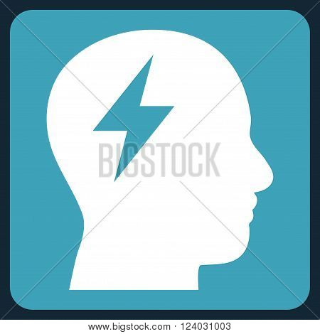 Brainstorming vector icon. Image style is bicolor flat brainstorming iconic symbol drawn on a rounded square with blue and white colors.