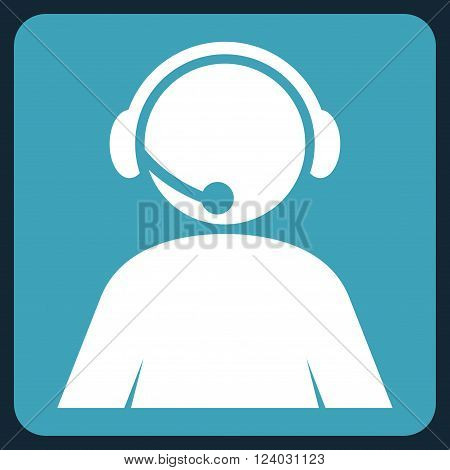 Call Center Operator vector pictogram. Image style is bicolor flat call center operator iconic symbol drawn on a rounded square with blue and white colors.