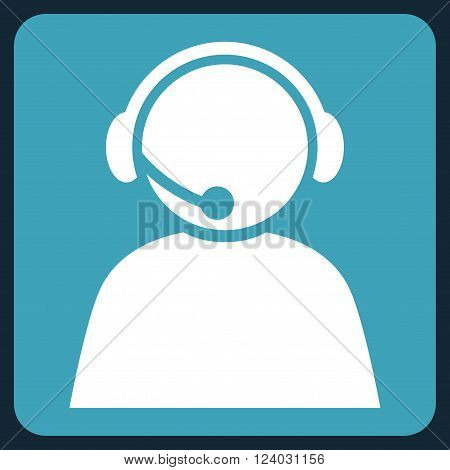 Call Center Operator vector icon. Image style is bicolor flat call center operator icon symbol drawn on a rounded square with blue and white colors.