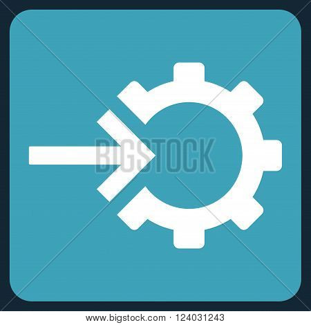 Cog Integration vector icon. Image style is bicolor flat cog integration icon symbol drawn on a rounded square with blue and white colors.
