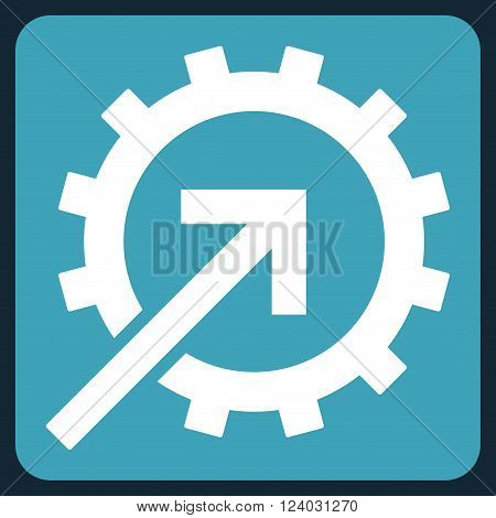 Cog Integration vector icon symbol. Image style is bicolor flat cog integration iconic symbol drawn on a rounded square with blue and white colors.