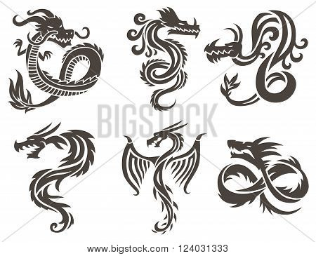 Dragon Tattoo white background vector illustration. Vector Chinese Dragon for the tattoo. Chinese dragon Tattoo. China Tattoo Dragon silhouette. China symbol dragon silhouette animal tattoo.
