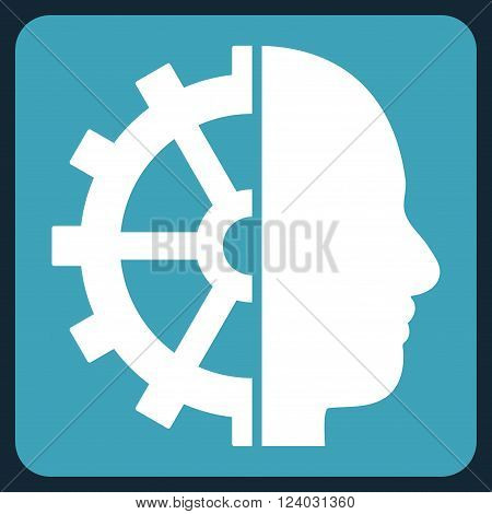 Cyborg Gear vector symbol. Image style is bicolor flat cyborg gear icon symbol drawn on a rounded square with blue and white colors.