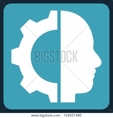 Cyborg Gear vector icon symbol. Image style is bicolor flat cyborg gear iconic symbol drawn on a rounded square with blue and white colors.