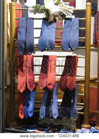 PADUA ITALY - CIRCA NOVEMBER 2014: ties on display on a window shop for which Italy is famous worldwide
