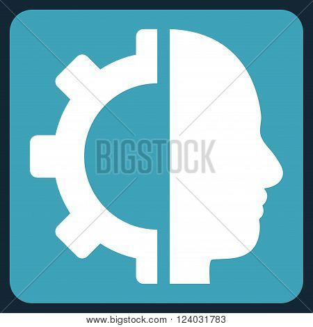 Cyborg Gear vector symbol. Image style is bicolor flat cyborg gear iconic symbol drawn on a rounded square with blue and white colors.