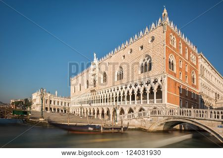 Doge's Palace And Gondola In Venice