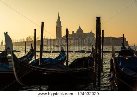 Gondolas And Church Of San Giorgio Maggiore In Venice