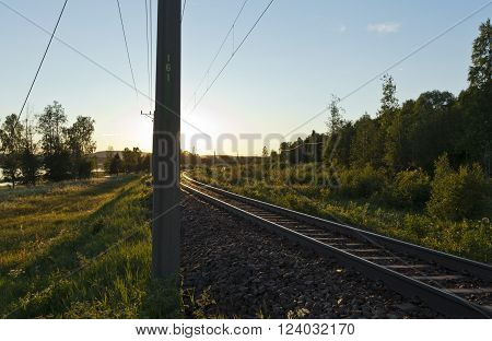 Railroad, railway in backlit, electrical line to the left. Bushy, forest in sunshine.