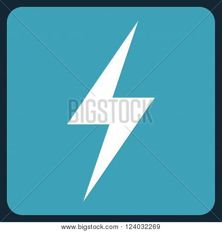 Electricity vector icon. Image style is bicolor flat electricity icon symbol drawn on a rounded square with blue and white colors.