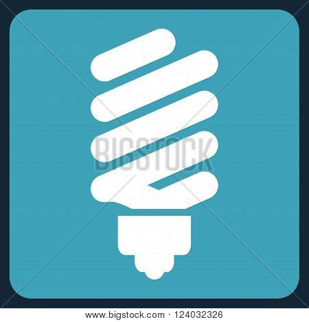 Fluorescent Bulb vector symbol. Image style is bicolor flat fluorescent bulb pictogram symbol drawn on a rounded square with blue and white colors.