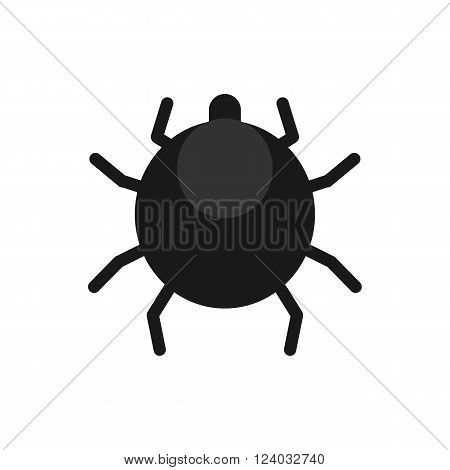 scary black mite flat vector icon on white background