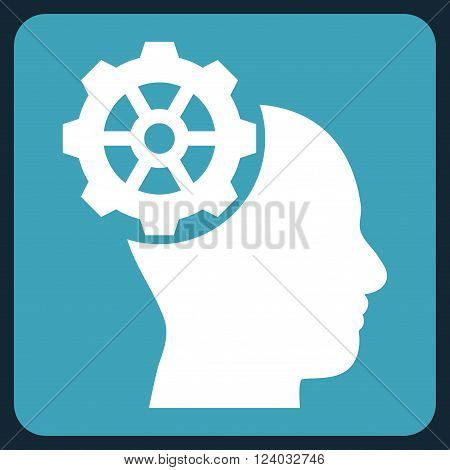 Head Gear vector symbol. Image style is bicolor flat head gear icon symbol drawn on a rounded square with blue and white colors.