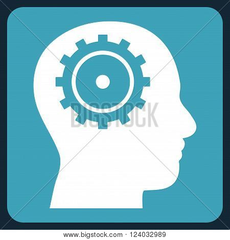 Intellect vector symbol. Image style is bicolor flat intellect iconic symbol drawn on a rounded square with blue and white colors.