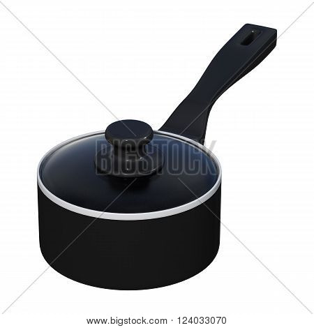 3D illustration of a of a black saucepan isolated on white background