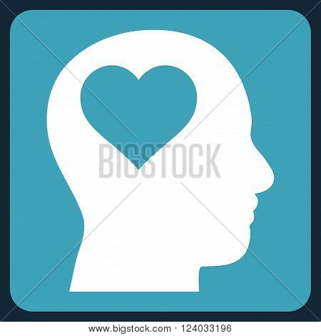 Lover Head vector icon symbol. Image style is bicolor flat lover head icon symbol drawn on a rounded square with blue and white colors.