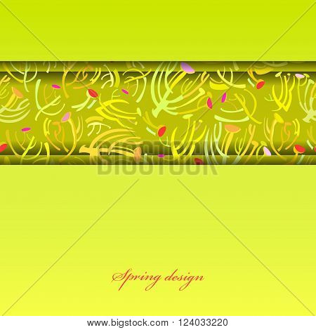 Abstract spring summer floral background. Green yellow spring twigs elegant ornament green background. Horizontal border stripe sprig pattern design Wrapping paper, textile fabric vector illustration