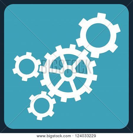 Mechanism vector icon. Image style is bicolor flat mechanism pictogram symbol drawn on a rounded square with blue and white colors.