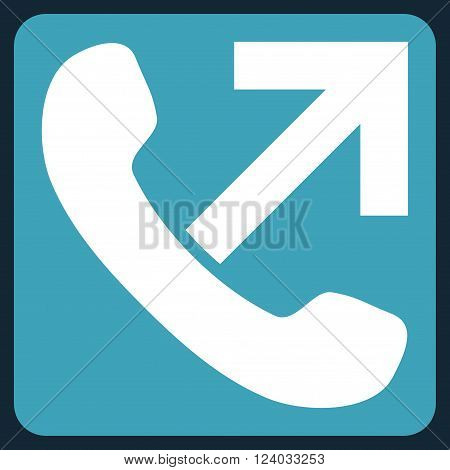 Outgoing Call vector icon. Image style is bicolor flat outgoing call pictogram symbol drawn on a rounded square with blue and white colors.