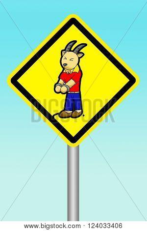 art yellow sign beware of scapegoat illustration