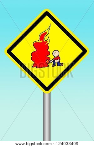 art yellow sign beware of arsonist illustration