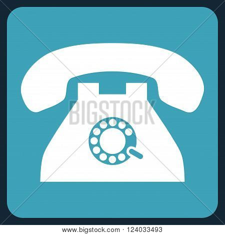 Pulse Phone vector pictogram. Image style is bicolor flat pulse phone iconic symbol drawn on a rounded square with blue and white colors.