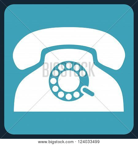 Pulse Phone vector symbol. Image style is bicolor flat pulse phone iconic symbol drawn on a rounded square with blue and white colors.