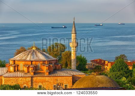 Istanbul the mosque in the foreground in the background Sea of Marmara and ships