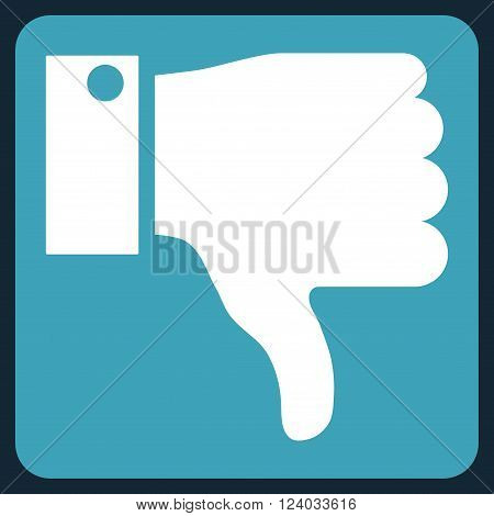 Thumb Down vector symbol. Image style is bicolor flat thumb down icon symbol drawn on a rounded square with blue and white colors.