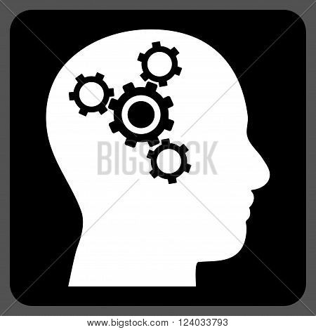 Brain Mechanics vector symbol. Image style is bicolor flat brain mechanics iconic symbol drawn on a rounded square with black and white colors.