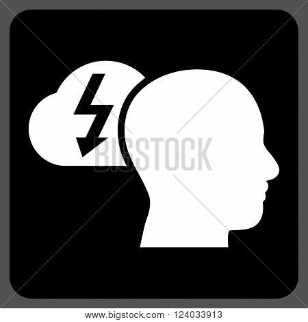 Brainstorming vector pictogram. Image style is bicolor flat brainstorming iconic symbol drawn on a rounded square with black and white colors.