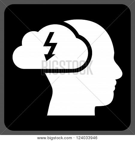 Brainstorming vector symbol. Image style is bicolor flat brainstorming icon symbol drawn on a rounded square with black and white colors.