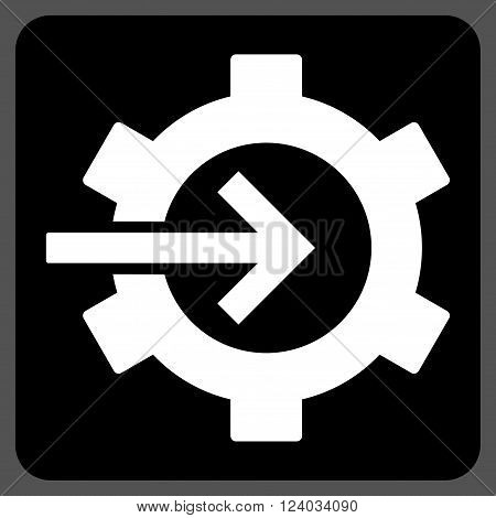 Cog Integration vector icon. Image style is bicolor flat cog integration pictogram symbol drawn on a rounded square with black and white colors.