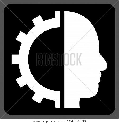 Cyborg Gear vector icon. Image style is bicolor flat cyborg gear icon symbol drawn on a rounded square with black and white colors.